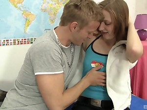 Long haired teen toddler Kristina Bell sucks and rides her boyfriend