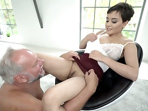 Young Slovak babe Yasmeena Ali is having dirty sex with one aged fart