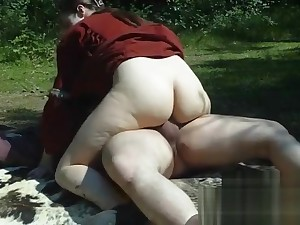 Fucking Vikings in the woods with creampie - Nadine Cays rides the elderly cock