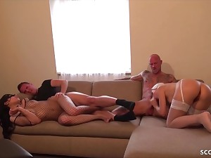 Team a few German Boys Change their way 18-Years-Old Girlfriends surrounding Make a mess in Group Fucking