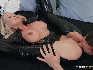 50 y.o. mature woman in latex catsuit getting fucked off out of one's mind a young man