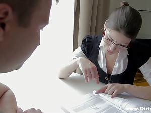 Nerdy librarian in glasses Zena Abridged is having quickie with one of students