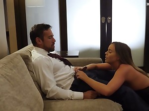 Sexy odalisque Alexis Adams gives a consenting blowjob and rides a big cock