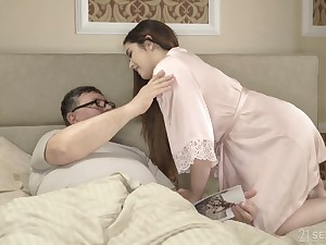 Spanish pale innocent GF Diana Rius rides patriarch man's strong cock