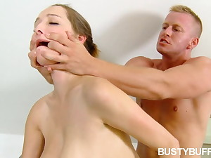 Busty Buffy deepthroats coupled with fucks after hot tub