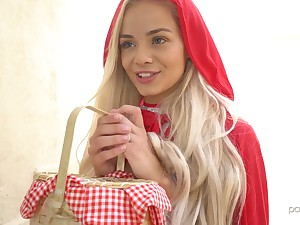 Red hood cutie Elsa Jean treats dude with candy and good blowjob