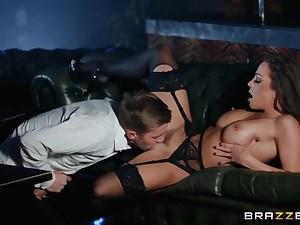 Gorgeous nightclub slut sits on a huge horseshit