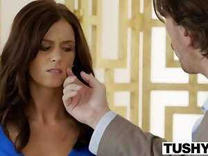 hot brunette in tight blue dress Whitney Westgate hard anal porn