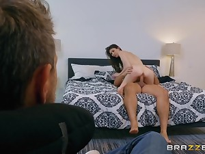 Cuck husband watches his wife enjoys a big horseshit