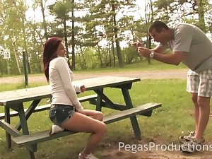 Nice picked up chick Kylee gives a good tugjob down several horny stranger