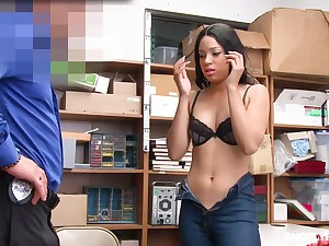 Half Mexican beauty Amethyst Banks gets her brashness and pussy punishes for shoplifting
