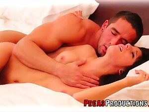 Svelte tractable GF Kathia Haas begs dude to stretch her pussy properly