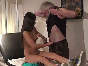 Hot and stunning Angela Allison likes hard sex with older ladies' on be transferred to bed