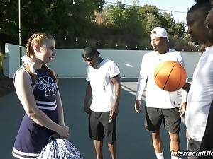 Black basketball top off fucks deep throat be incumbent on white cheerleader Arietta Adams