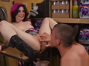 Angel Joanna bend over the counter for doggy from her stud