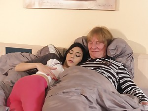 Ashley High seas has copulation with an older man in doggy atmosphere position