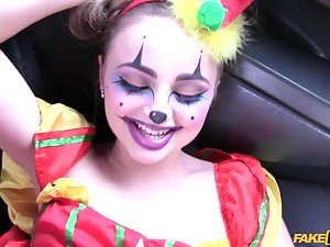 Taxi driver banged sexy clown Lady Bug on the backseat
