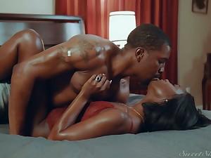 Horny ebony babe Ana Foxxx is fucked and jizzed by insatiable black boyfriend