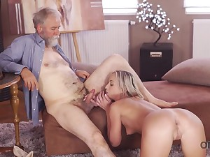 Kind grey-haired teacher makes sweet love