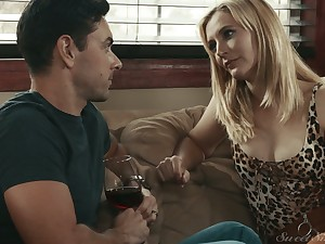 Closely-knit tittied blonde Mona Wales is having crazy copulation fun with her new lover