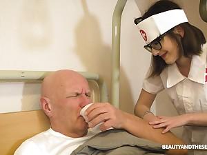 Pretty nurse gives a lucky venerable man an amazing blowjob