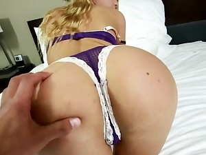 Chatting with a blonde babe to the fore getting fucked hard