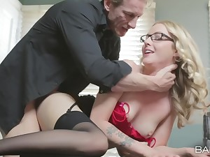Blonde secretary Karla Kush in lingerie loves to be fucked from behind