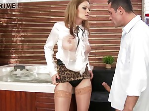 Glamour pornstar Abbie Cat makes her male slave pleasure her