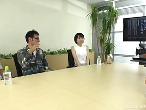 Hardcore threesome shafting chiefly get under one's office table involving Fujie Shiho
