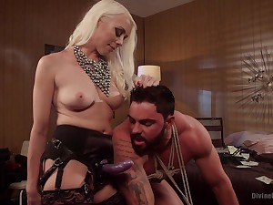 Mother uses get under one's strap-on trinket on her go first slave's tight ass