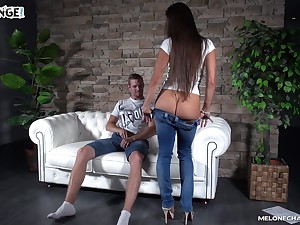 Young dude fucks two sex-appeal Czech chicks Wendy Moon with an increment of her girlfriend