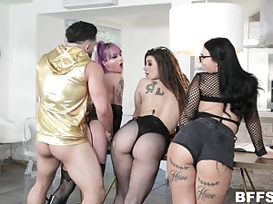 Three bitches with buxom asses fuck two hot guy and take cumshot shower