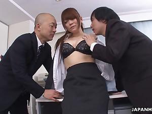 Kinky big wheel and his business partner fuck pretty secretary Mari Motoyama