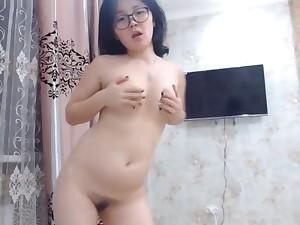 Cute Asian Nerdy Teen Dancing Naked