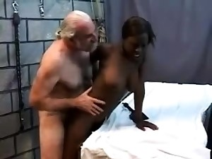 Teen stepdaughter interracial doggystyle relative to clouded stepdad