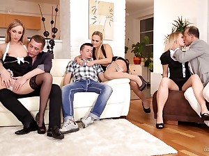 Four swinger couples enjoy group sex and make each other happy