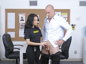 Security girl with respect to unvaried Megan Spew is fucked by heavy bald required man Sean Lawless