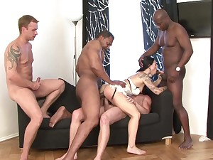Interracial gangbang with triple penetration for Lulu Jung